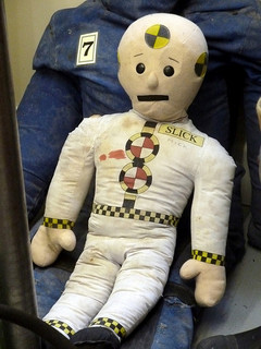 A crash test dummy, as used in car accidents.