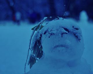 A sad snowman.