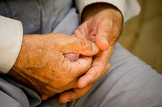 The hands of an old person.