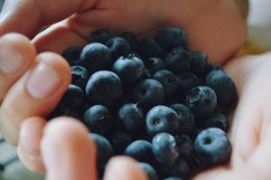 Blueberries, a source of natural sugar.